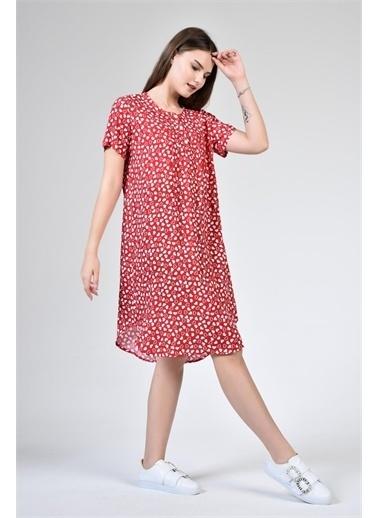 Rodi Jeans Kadın Yuvarlak Yaka Kalp Baskılı Elbise DS21YB112192 Kırmızı